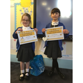 Our star, Evelyn and our value Tamsin. Well done girls.