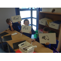 Sketching mammoths on whiteboards before putting them into our books.