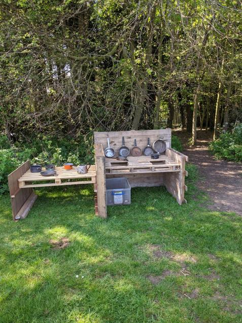 Take a look at our mud kitchen in Forest School