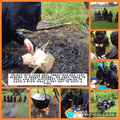 5G using tools to cut, chop and peel to make an American stew over a fire