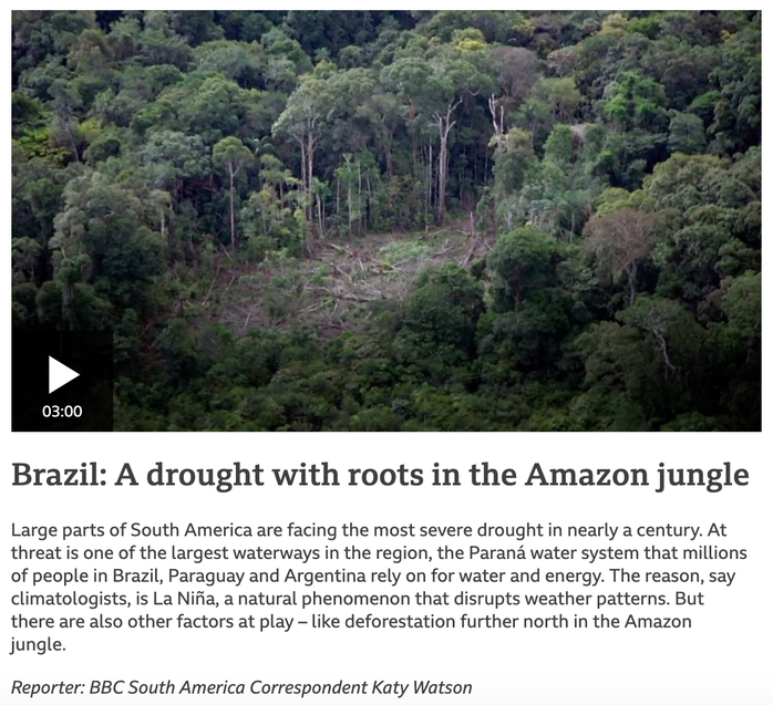 Year 6 - a very interesting video and a good reminder of last year's learning about the Amazon rainforest in Brazil.  It really shows how impactful climate change is. Year 5 - this will be part of your topic in summer!