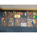 We were inspired by the work of Peter Thorpe to make our own rocket art.