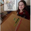 Olivia-Rose has been using the language of size, short, shorter, long, longer, longest.est
