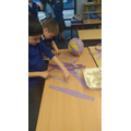 We created planets using papier mache