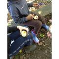 Y5 designing on their tree cookies