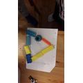 Hunter B has been making shapes using blocks.