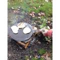 Year 4 making flat bread outside