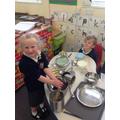 Sophie making chocolate cake for Edward - yum!