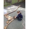 Eva was building a castle.