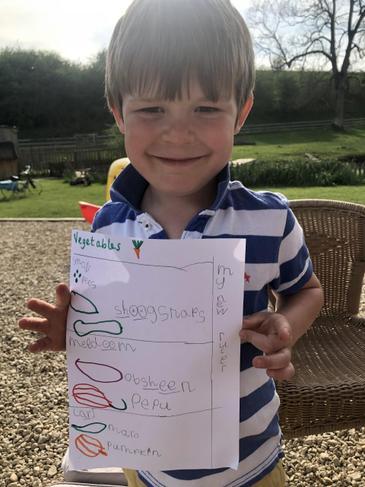 Freddie's fabulous vegetable size chart!