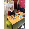 Eva loved finding out what colours she could make by mixing!