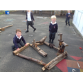 Building the Three Little Pigs house - great teamwork!