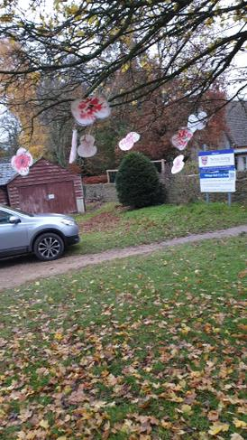 Class 1 Poppy mobile on the trees