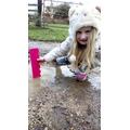 Sophie even got out measuring puddles!