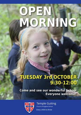 School Open Morning, Tuesday 3rd October, 9:30-12:00