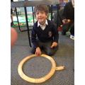 Hugo made a train track circle!