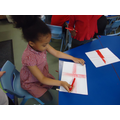 Making the England flag.