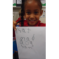 Using RWI phonics to help write simple words.
