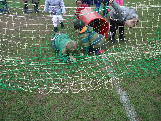 Crawling under the net!