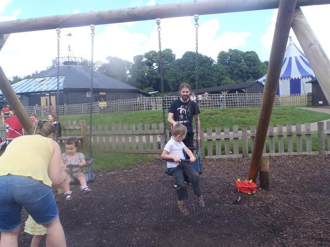 On the swings!