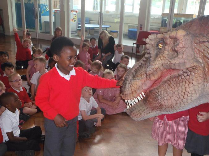 We were brave enough to stroke a big T-Rex!