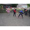 Practising our hula hoop skills.