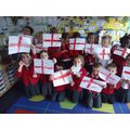 Waving our flags for St George's Day.