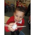 We made animals with plasticine.