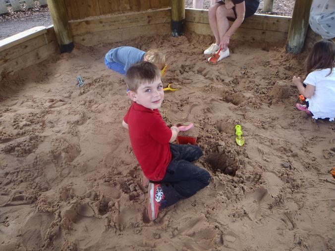 In the sandpit!