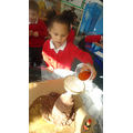 We mixed bicarbonate of soda and vinegar.