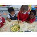 Ensuring the vegetables are cut into small pieces.