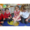 """I made banana stew in the Mud Kitchen!"""