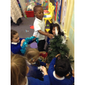 Teamwork decorating our tree