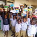 Junior and classmates with their new resources