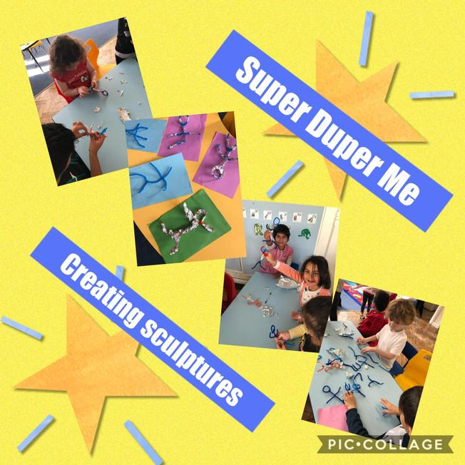 Creating sculptures of ourselves and thinking of super adjectives that describe us