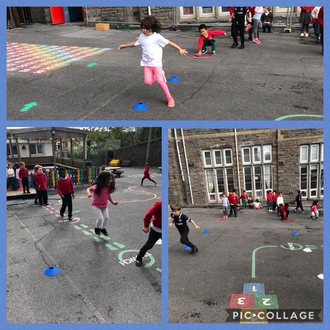PE outdoors, increasing spatial awareness, working as a team and following instructions.
