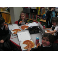 Enjoying our pizzas back at school.