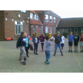 Playing Four Square with our Group Leader Richard