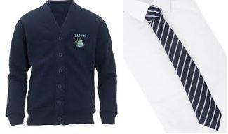 School cardigan, shirt and tie