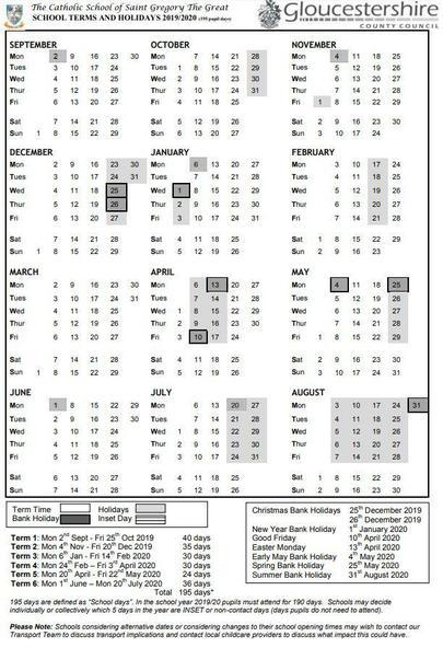 Term Dates 2019-2020