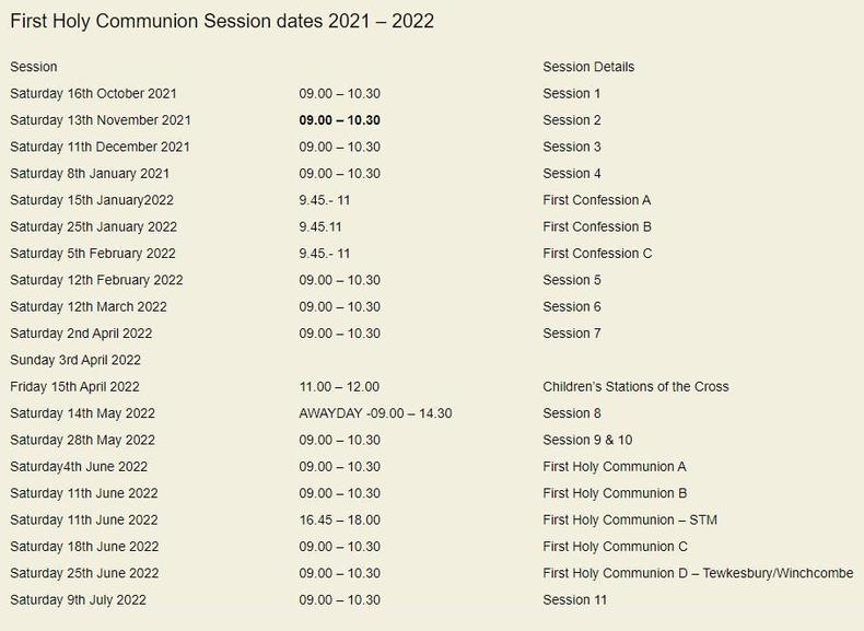 First Holy Communion Sessions 2021-22