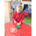 Painting our clay imprints