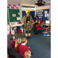 Miss Williams dressed up as a fireman.