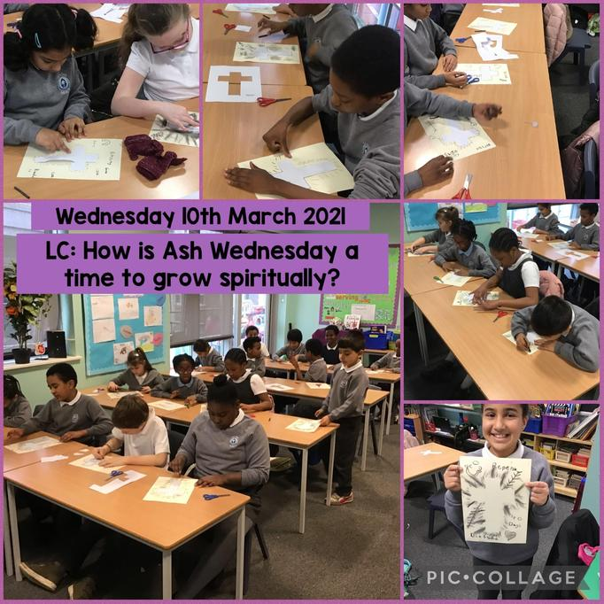 We created art using charcoal to show the symbols used for Lent