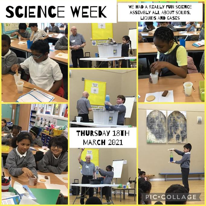 We loved the Science Week assembly. We learnt lots about states of matter.