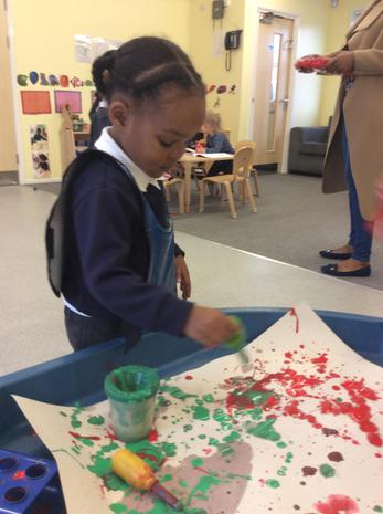 We have been blobbing and splatting paint to see what happens