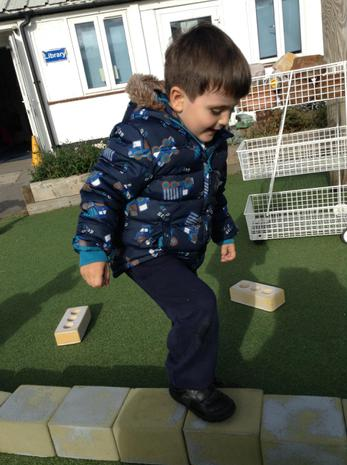 We are learning to balance on one foot