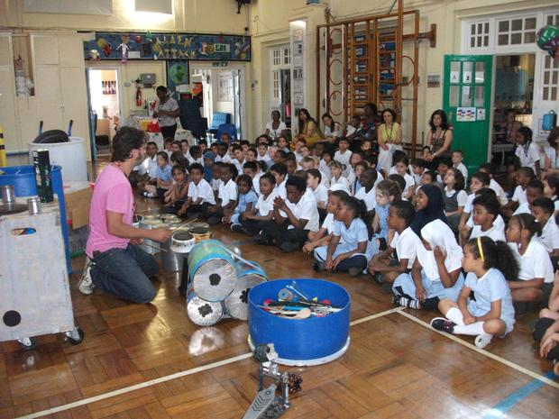 Year 1 listening to the Junk percussion man.