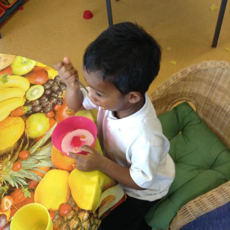 We are learning to choose healthy snacks during our play