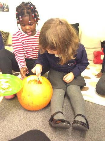 We have been learning about halloween and talking about what a pumpkin feels like
